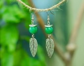 Green Leaf Earrings - Green Agate Gemstone Earrings - Boho Earrings - Romantic Earrings - Rustic Earrings - Gift For Woman - Gift For Her