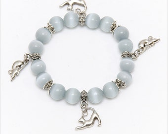 Cats Eye Bracelet with Cat & Mouse