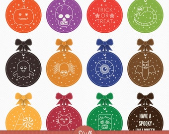 Halloween labels and bows - Instant Download