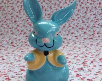 Vintage Blue Bunny Ceramic Figurine