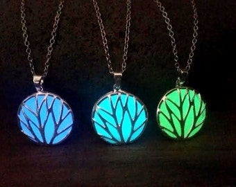 Glowing Tree Necklace, Blue Green Aqua Glow in the Dark Tree of Life, Unique Gift, Tree Statement Necklace, Round Circle Spiritual Necklace