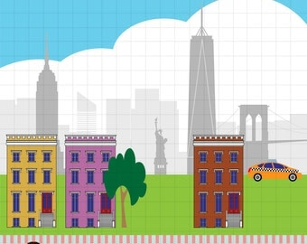 New York City clipart, Brooklyn Bridge, Brownstones, Taxi. Commercial use okay.
