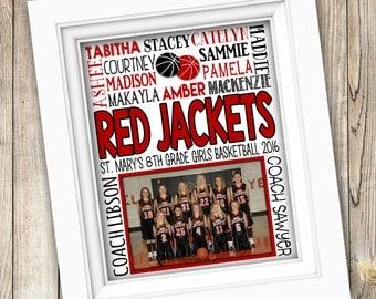 Basketball Coach Gift ~ Basketball Team Gift ~ Custom Basketball ~ Basketball Gift ~ Printable Basketball Subway Art