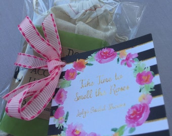 The Leah | Modern & Glamorous Floral Stripe Party Favor Tags using the Glamour Girl's Favorite Colors: Black, White, Gold and Pink