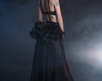 Black organza tail-gothic tail-Burlesque tail-gothic clothing-black tail-mini tail