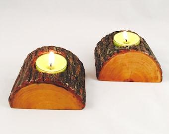 Candle Tea Light Holder Half Log