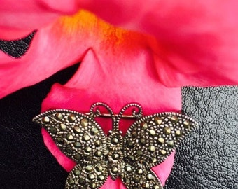 Silver Butterfly Brooch /Silver and Marcasite Butterfly Brooch / 925 FAS Silver Brooch/ Costume Jewelry