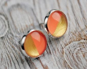 orange gold stud earrings orange gold stud earings two tone stud earings two tone stud earrings for men two tone earings tiny stud earrings