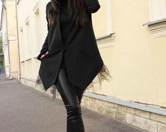 Black Vest /Black Long Vest/Loose Vest/Wool Jacket/Sleeveless Jacket/Extravagant Asymmetrical Vest / Blazer sleeveless/ Jacket /ROHAS/R00046