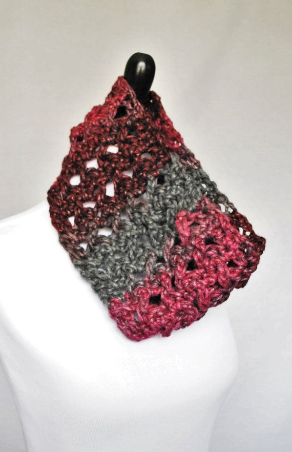 Pink, Gray, Red Crochet Cowl, Neck Warmer, Infinity Scarf -  Burgundy, Charcoal Lightweight, Lacy, Open Cowl