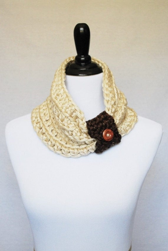 Cream and Brown Button Cowl, Short Infinity Scarf, Crochet Neck Warmer with Removable Wrap - Neutral, Beige, Off White, Chocolate Brown