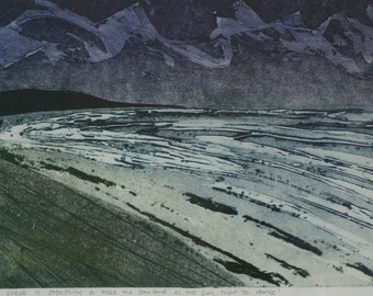 The Sea Crept In, While the Sun Tried To Dance - Original Collagraph Print
