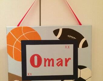 Custom Hanging Name Sign- Sports