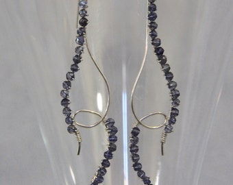 Iolite & Sterling Silver Earrings, Long Linear Dangle Shoulder Dusters, Hand Wire Wrapped, Gemstone Beaded Jewelry, Free Form, Denim Blue