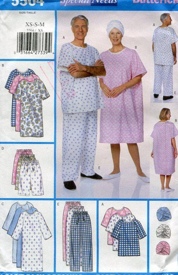 Free Us Ship Butterick 5504 Special Needs Hospital Gown Turban