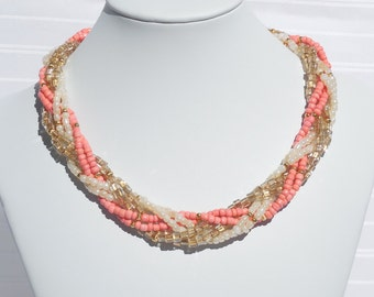 Braided coral, pearl, and gold glass seed bead necklace