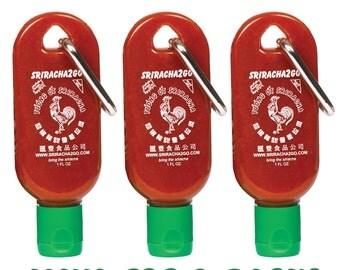Mini Sriracha2Go 3-Pack! Mini Keychain Sriracha Hot Sauce Bottle. Perfect For Traveling! (Empty)