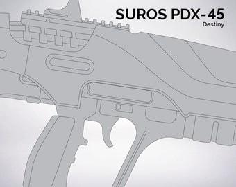 Destiny SUROS PDX-45 Pulse Rifle Blueprint 1:1