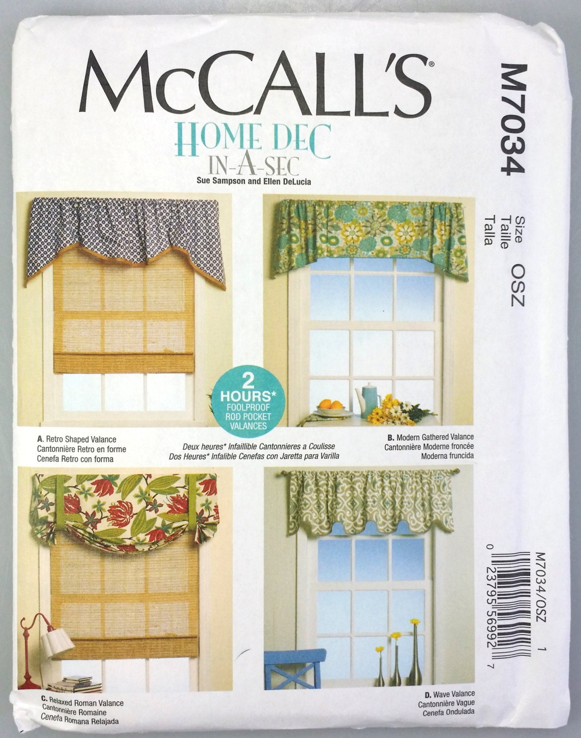 Mccalls home dec in a sec window valance by for Professional window treatment patterns