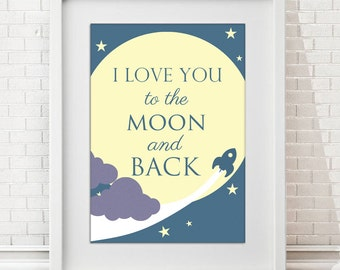 I love you to the Moon and back Wall Art Print - Home Decor FRAMED