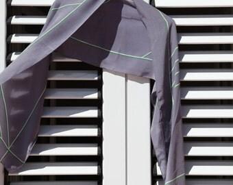 Grey vintage silk geometric scarf.