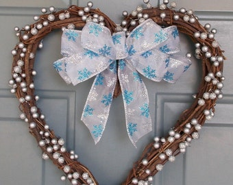 Winter Wreath- Winter Door Wreath - Heart Shaped Wreath - Christmas in July Decoration - Snowflake Wreath - Winter Door Hanger