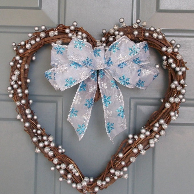 Winter Wreath Winter Door Wreath Heart Shaped Wreath