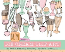 Ice cream clipart set cute summer ice cream clip art pack hand drawn popsicle milkshake ice cream cone cherry clipart pastel pink mint peach
