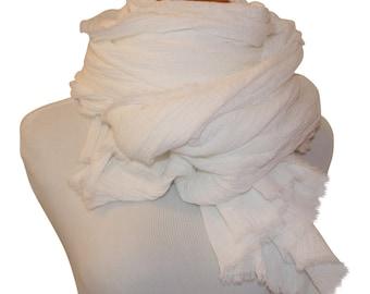 XL White Cotton Scarf / Cotton Gauze Scarf / Men's Scarf / Women's Scarf / Large White Scarf / White Cotton Gauze Scarf / Cotton Gauze Wrap