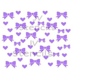 Hearts and Bows Stencil