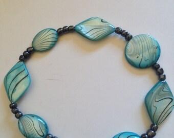 blue beaded ankle bracelet