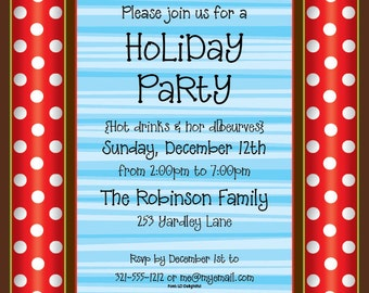 Merry Dots and Stripes Holiday Party Invitation, Family Christmas Invite, Winter Party Announcement, Original Digital Invitation, IV1114