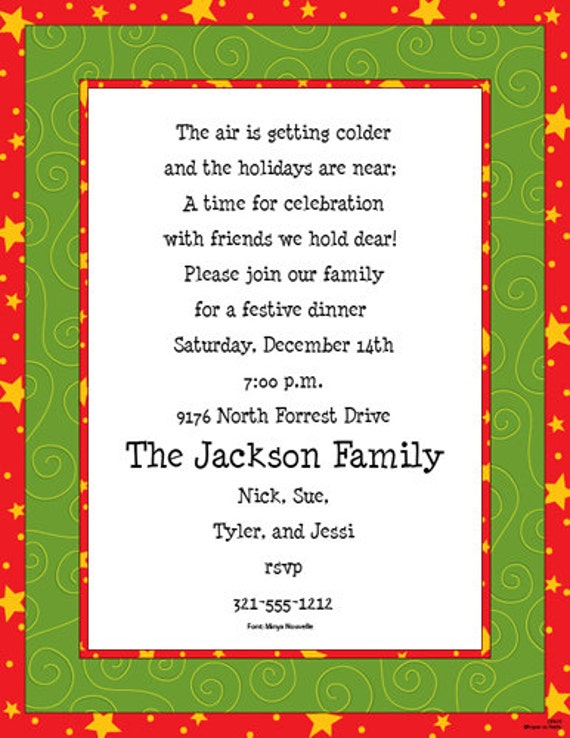 christmas stars holiday party invitation family christmas invite