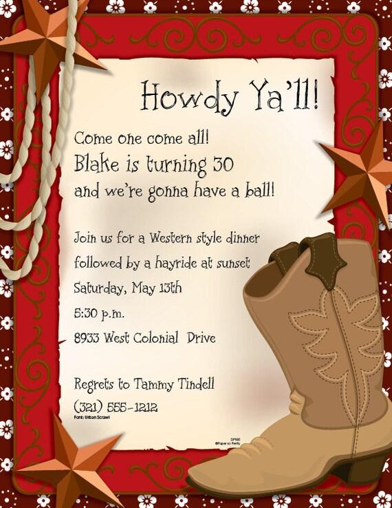 Wild West Western Invitation Cowboy Boot Birthday Card Custom