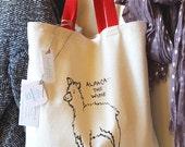 Alpaca Wine Tote Bag, 100% Natural Cotton Sturdy Canvas, Red Over-the-Shoulder Handles, Original Illustration, Handmade Design