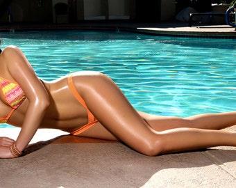 Dezi Orange Print Bikini Summer Swim Suit