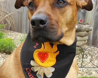 I Love Camping Embroidered Dog Bandana