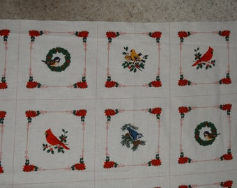 """10 squares Vintage Cranston VIP """"Birds of Christmas"""" Picture Book sewing fabric quilt panel"""