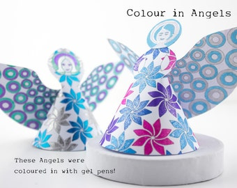 Christmas Decoration Angels, downloadable ornaments, Gabriel's for baptisms, Christenings, Weddings, party favors to colour and make