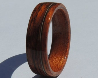 Cocobolo and Cherry Wood Ring with Guitar String Inlay, Bentwood Wedding Band
