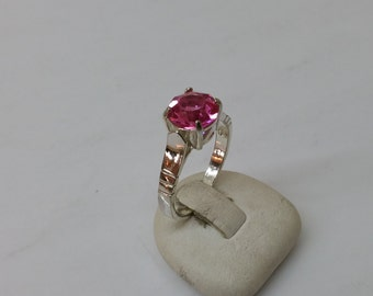 Ring 925 Silver with pink Crystal stone precious SR511