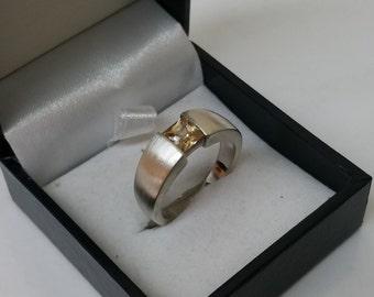 Ring Silver 925 Crystal stone matt orange SR593
