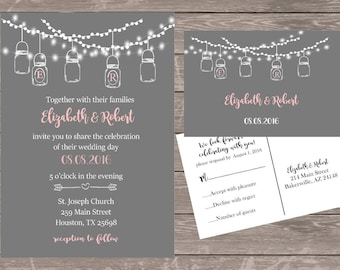 Personalized mason jar wedding invitations, Grey and pink mason jar invitations,