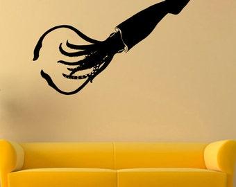 Calamari Vinyl Sticker Squid Wall Decal Nautical Vinyl Decals Wall Vinyl Decor /12cbn/