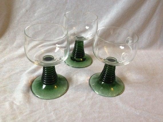 Vintage German Green Roemer Glasses Set Of 3 Vintage