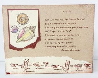 Sympathy Card, Condolence Card, Bereavement Greeting, Beach Funeral, Shells , Seagulls, Condolence, Death, Passing,  Funeral, Handmade