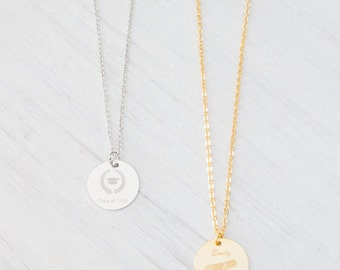 Personalized Gold Necklace, Monogram Initial Name Engraved Necklace, Silver Necklace, Medal Necklace, Christmas, wedding, bridesmaids Gifts