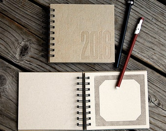 Two Personalized Kraft Letterpress Wire Bound Photo Albums for 4x4 Square Pictures -Custom Made