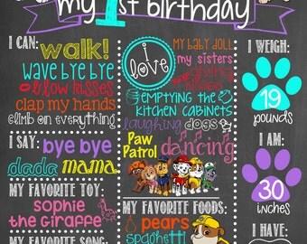 Paw Patrol Birthday Chalkboard / Girl Paw Patrol Birthday Chalkboard / Girl Birthday Chalkboard/ First Birthday Chalkboard Sign/Digital File