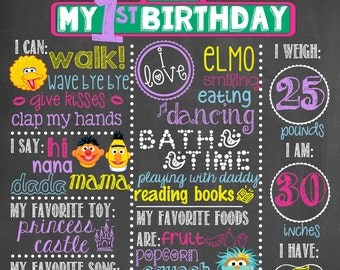 Sesame Street Birthday Chalkboard / Sesame Street First Birthday Chalkboard / Sesame Street Girl Birthday / Sesame Street Theme Chalkboard